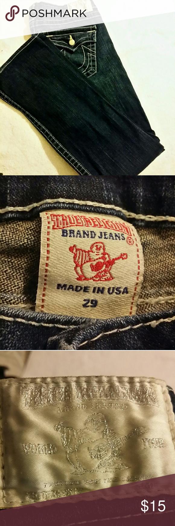 "TRUE RELIGION JEANS - 98% Cotton 2% Spandex Inseam 32"" Long Skinny Straight Size 29 True Religion Jeans Skinny"