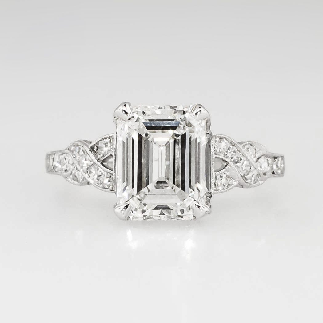 Sensational 1930's Art Deco 290ct Tw Emerald Cut Diamond Filigree  Engagement Wedding Ring Platinum