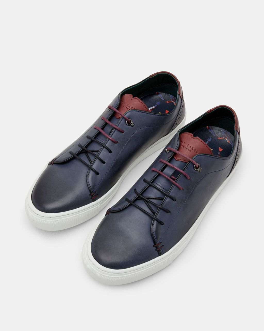 Brogue detail leather trainers - Navy