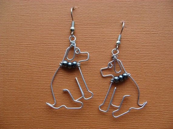 SITTING DOG EARRINGS wire wrapped by chatnoir77 on Etsy, $14.00 ...