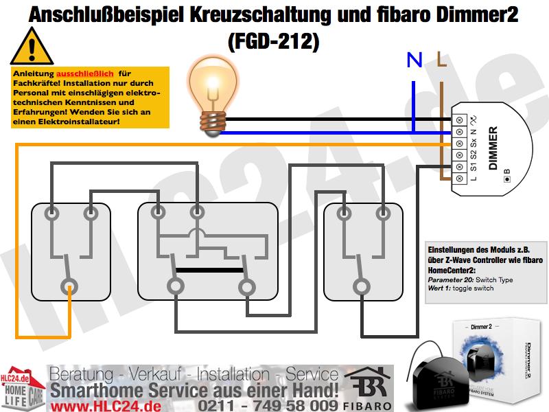 Anschlussbeispiel Kreuzschaltung Und Fibaro Dimmer2 Fgd 212 Elektro Elektroinstallation Elektroinstallation Selber Machen