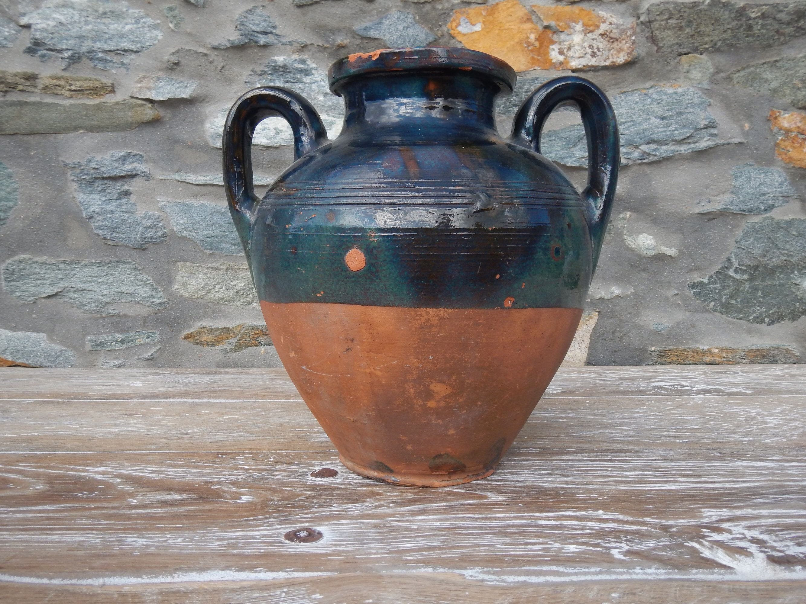 Blue Green Glazed Antique Confit Antique Large Clay Pottery Etsy Clay Pottery Beginners Ceramics Clay