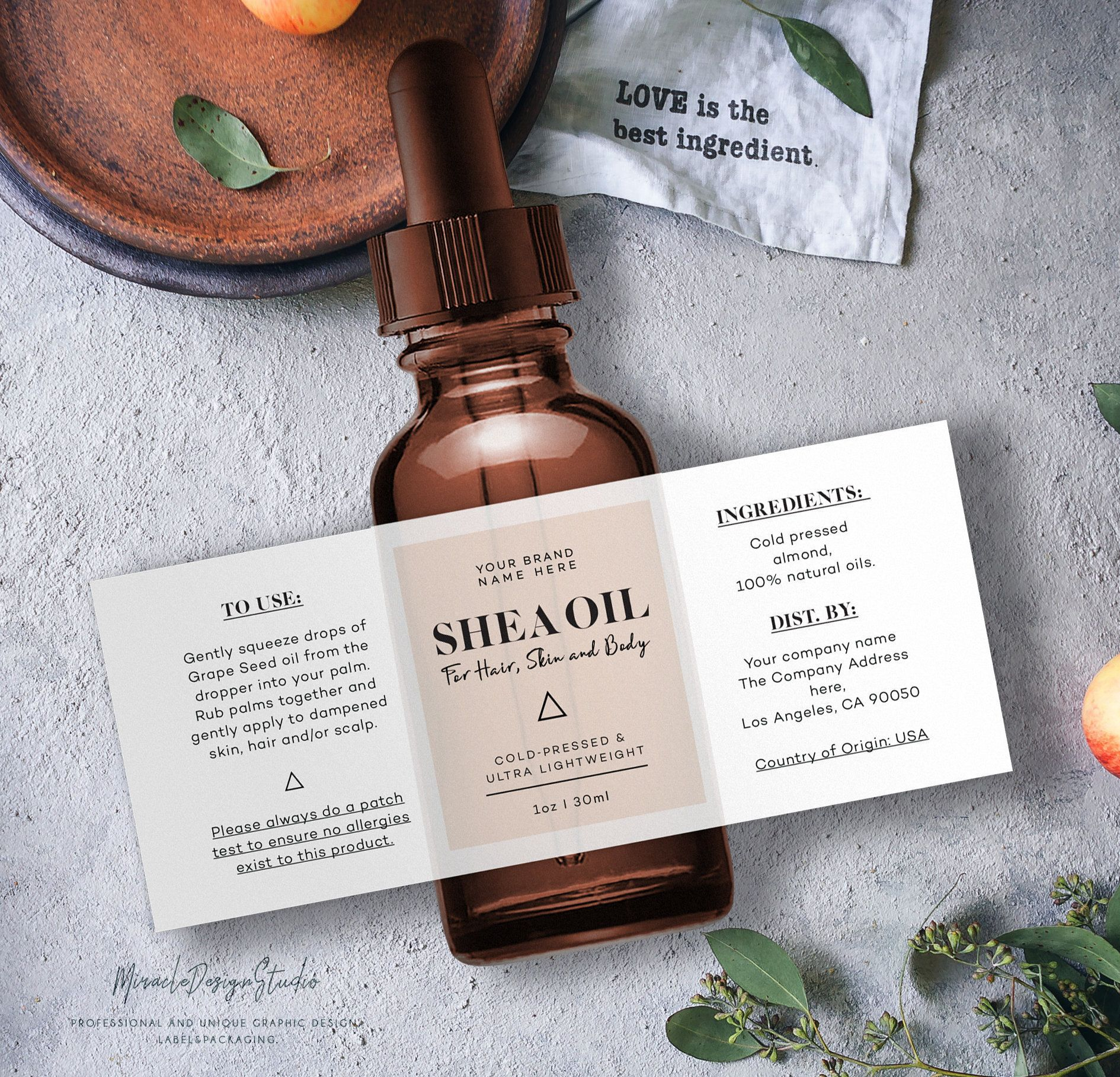 Custom product label - Editable Product Label - Stylish cosmetic