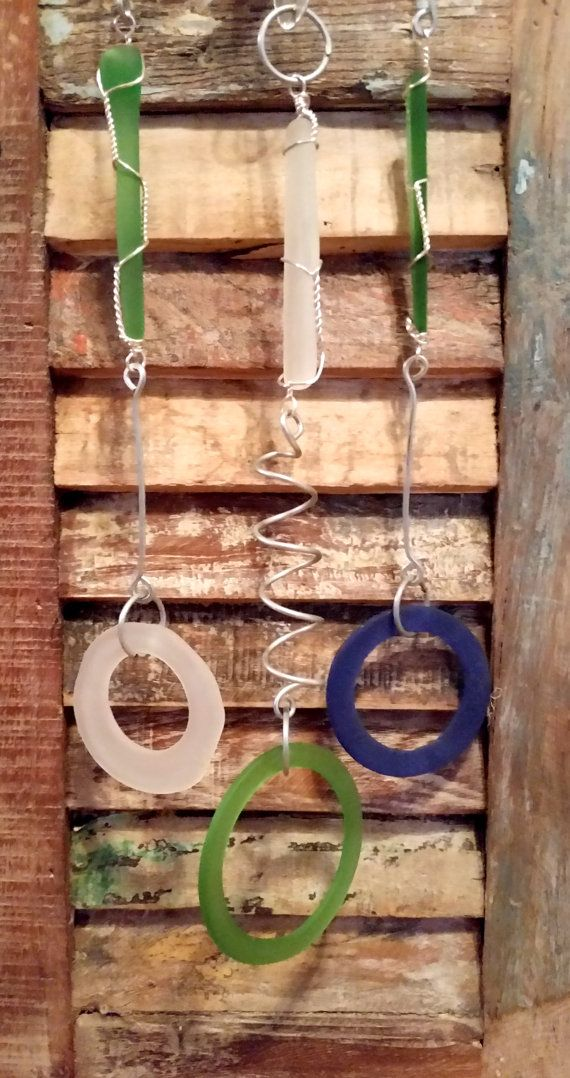 Recycled Glass Windchime with Aluminum and by InsomniacTreasures