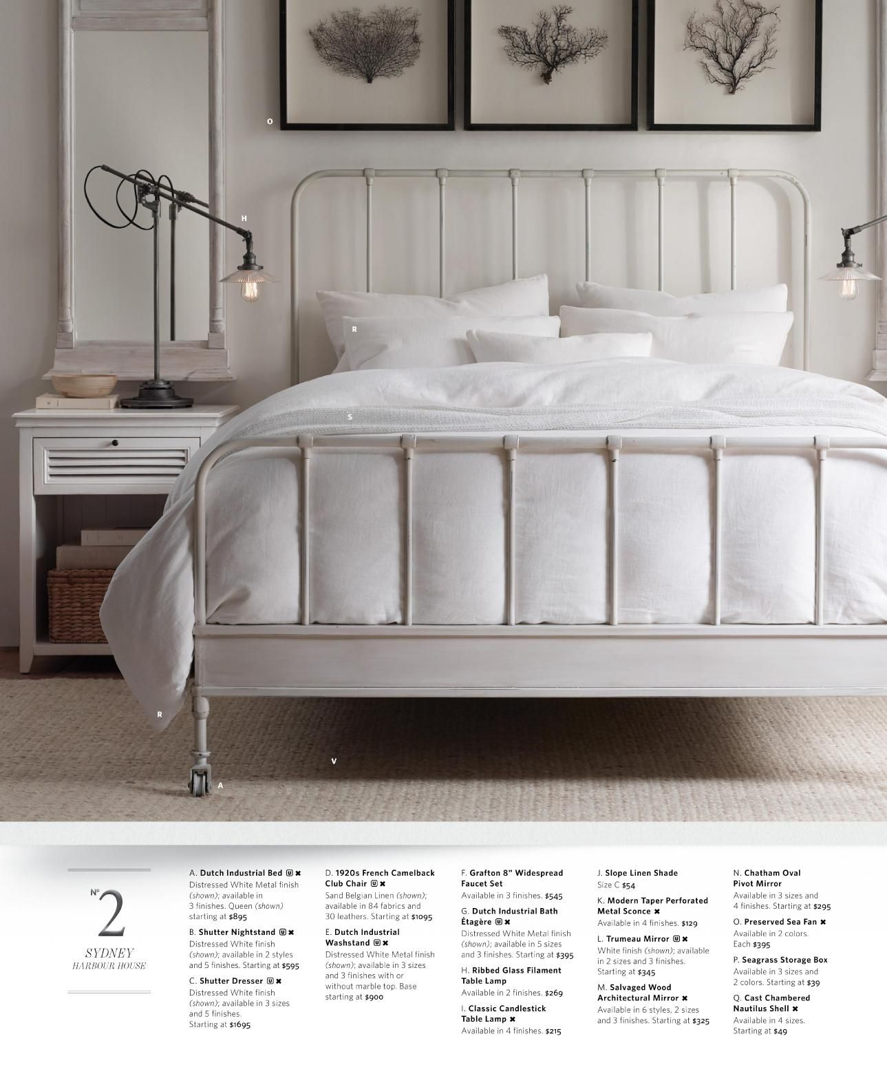 Rh Source Books White Metal Bed Iron Beds Queen Frame