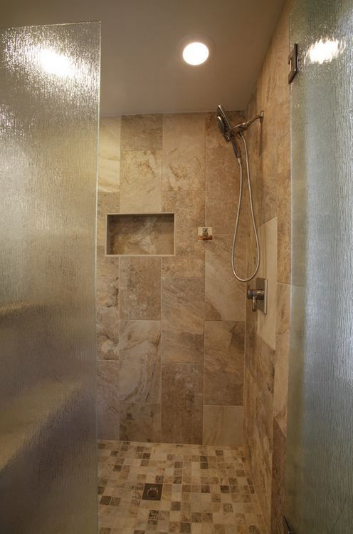 calabria bianco porcelain tile 12 x 24 on wall and 2 x 2 on shower floor - Shower Wall Tile Design 2