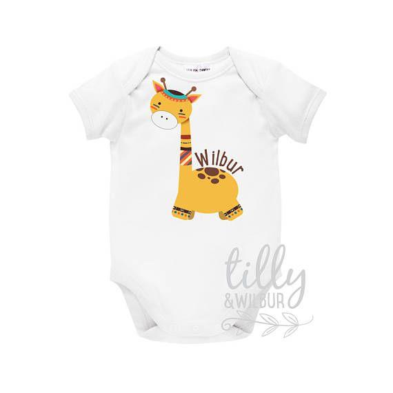 Personalised baby bodysuit with giraffe tribal boho design personalised baby bodysuit with giraffe tribal boho design personalised baby gift personalized baby negle Gallery