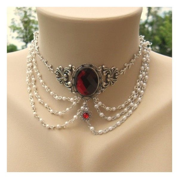 Blood Red Vampire Vintage Ivy Renaissance Bridal Cabochon Choker ❤ liked on Polyvore