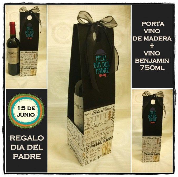 Caja porta vinos tiempo de regalos feria central bolsas y cajas de regalos pinterest Cajas de vino decoradas
