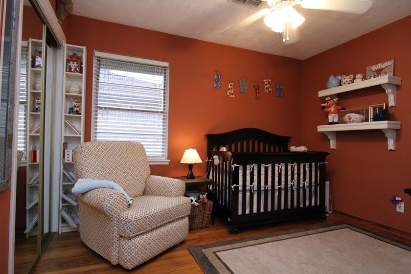 Burnt Orange Ish With A Chalk Wall Boy Nursery Colors