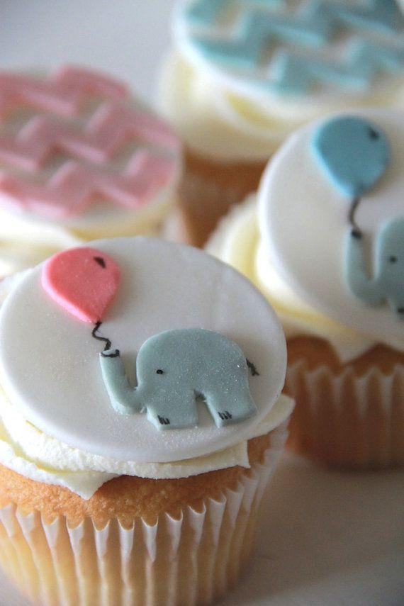 Baby Shower Elephant And Chevron Edible Fondant Cupcake Topper Baby