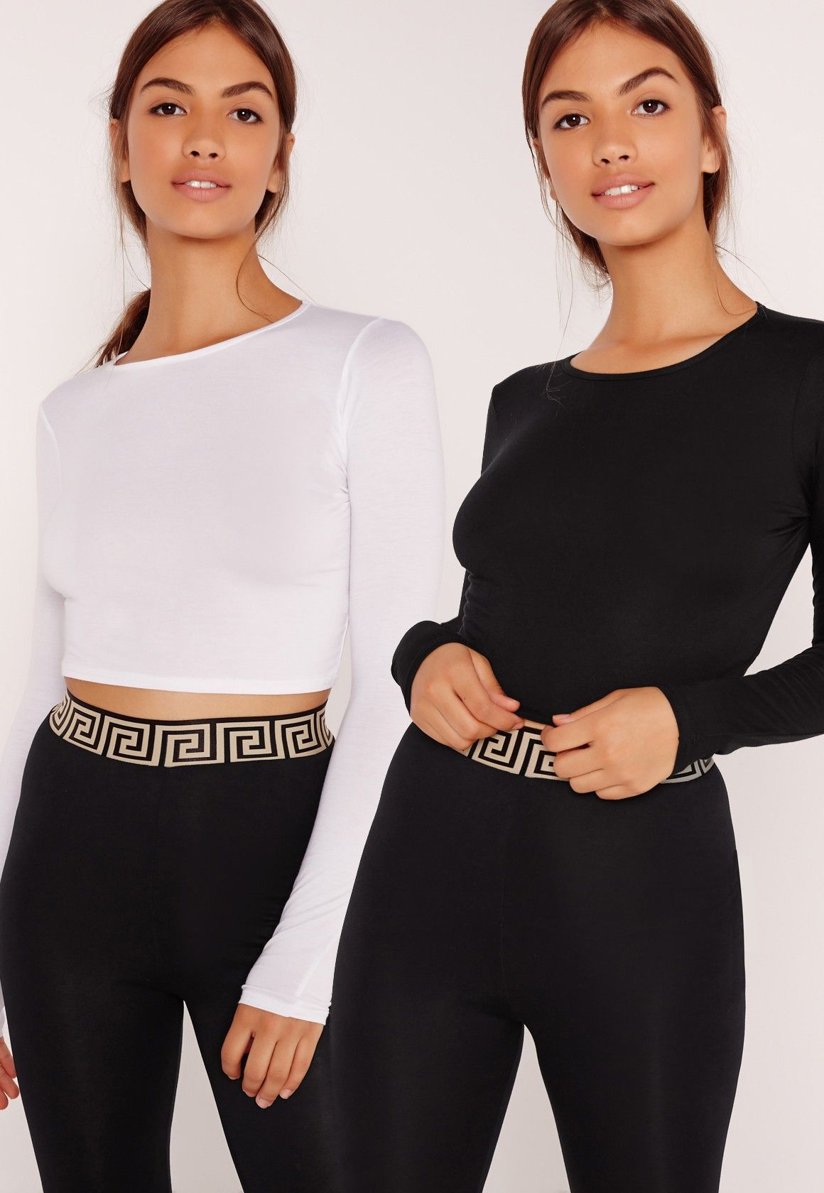 f8022a0c938aee Missguided - Two Pack Long Sleeve Crop Top Black and White