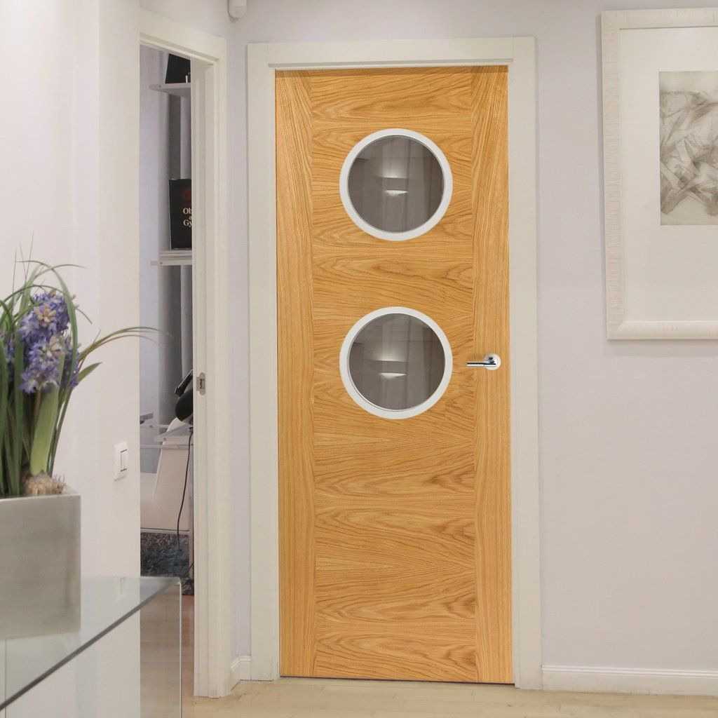 Jbk Porthole 2 Brisa Mistral Oak Fire Door With Decorative Groove Pre Finished 30 Minute Fire Rated 1 2 Hour Oak Fire Doors Fire Doors House Paint Interior