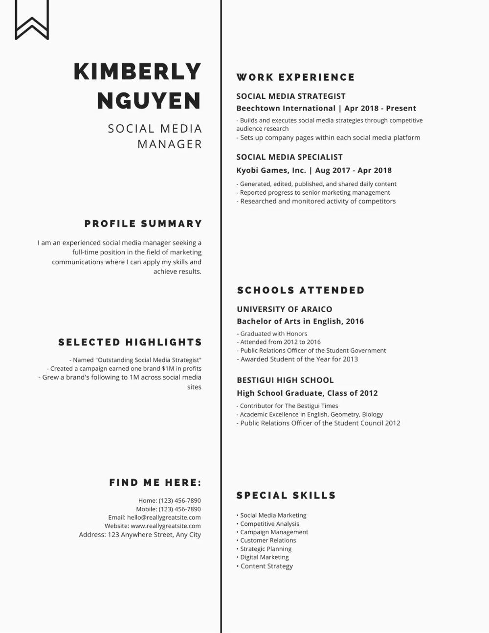 Professional Resume Design Canva