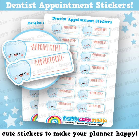 Cute Dentist  Tooth Appointment Planner Stickers Filofax