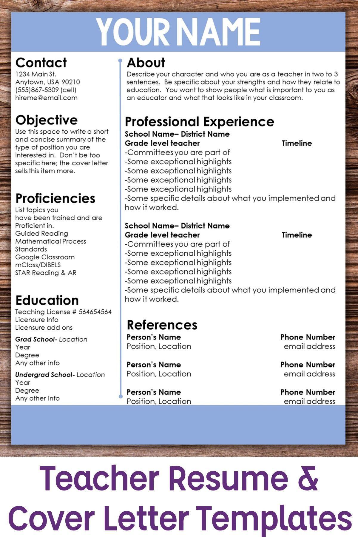 Editable teacher resume template color accent teacher