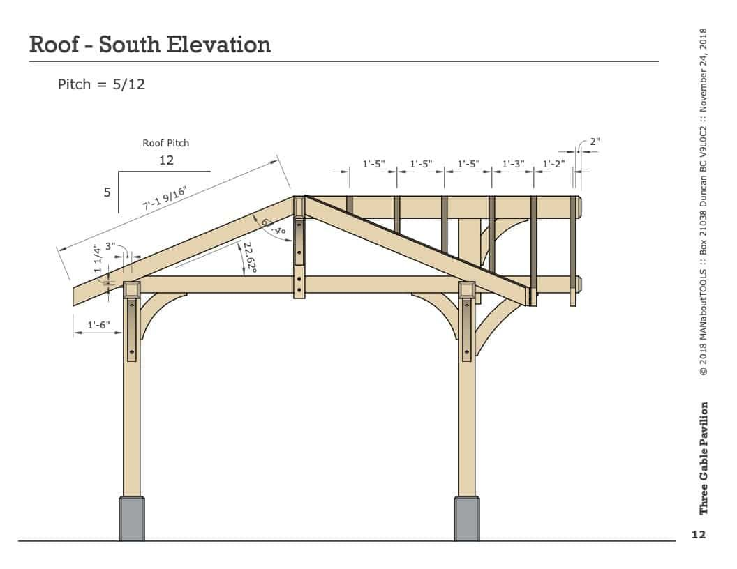 Three Gable Pavilion Digital Plan Man About Tools Timber Frame Pavilion Outdoor Pavilion Pavilion