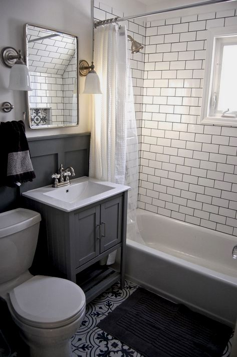 Small Grey And White Bathroom Renovation Update. Subway