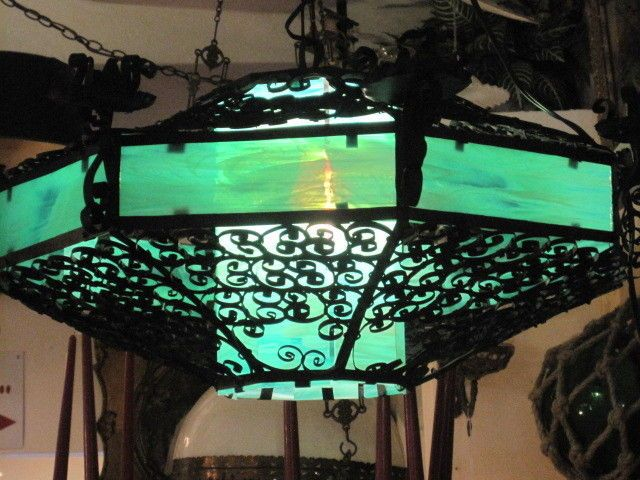 Antique Stained Glass And Wrought Iron Chandelier Spanish Gothic