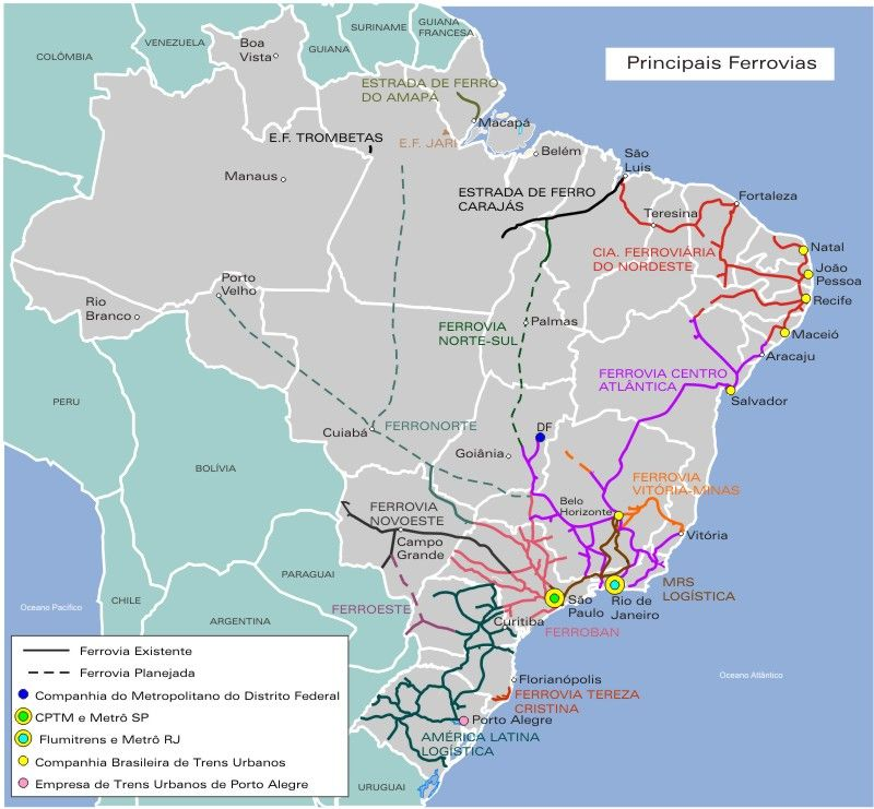 Brazil Main Railways Map Freigth RailwaysFerrocarriles De Carga - Argentina rail network map