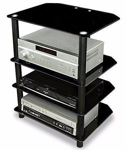 Glass Media Stand Audio Tower Organizer Furniture Entertainment Console  Center