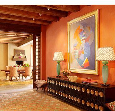 Warm Orange Paint Colors terracotta orange color | foyer with deep orange colored walls