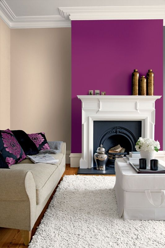 Living Room Feature Wall Decor: Purple Alcove Wall With Cream Either Side. Looks Nice With