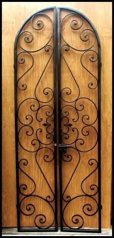 Forged Scroll Iron Wine Cellar Double Door Wrought Iron Doors
