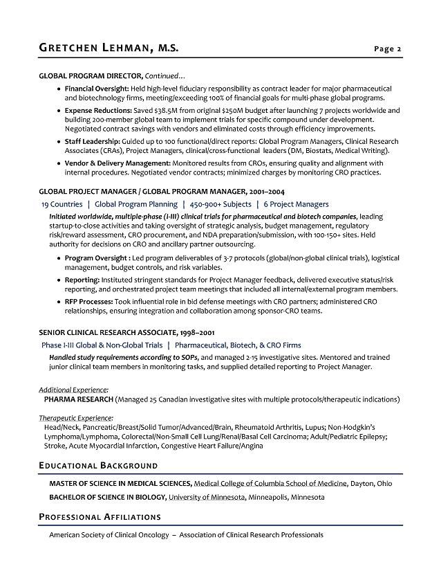 Program Manager Sample Resume - Biotech Sample Resume - Resume