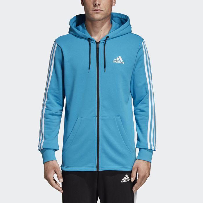 adidas hoodie xl 3 stripes blau