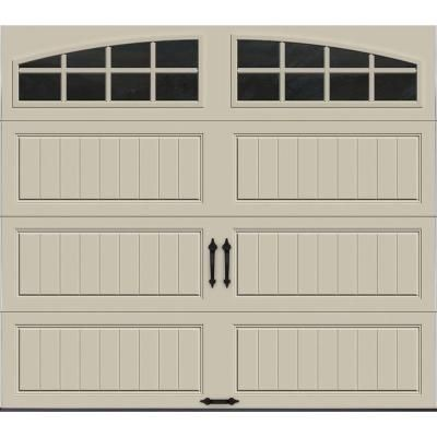 Clopay Gallery Collection 8 Ft X 7 Ft 6 5 R Value Insulated Desert Tan Garage Door With Arch Window Gr1lp Rt Grla1 The Home Depot Garage Doors White Garage Doors Garage Door Design