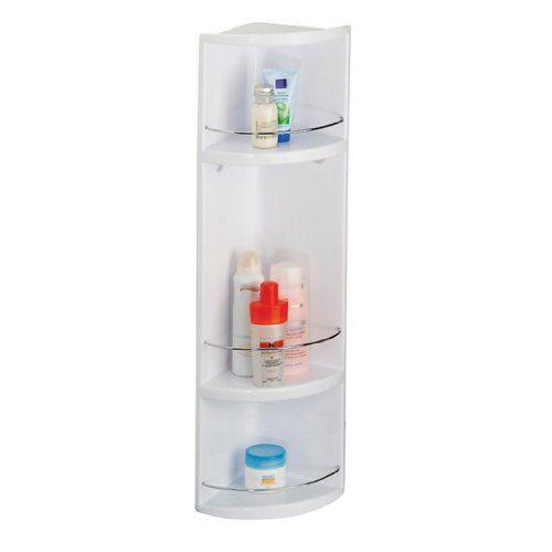 Croydex Compact 3-Tier Plastic Bathroom Corner Storage Unit, 70 x 16 x 16 cm, White