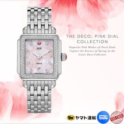国内発☆新 デコダイヤモンド ピンクモザイク腕時計☆ミッシェル