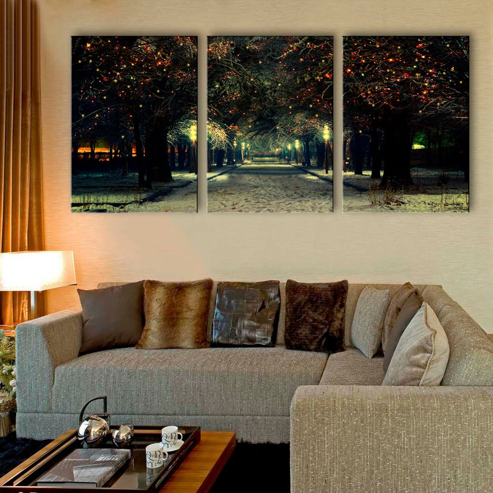 Free shipping stretched canvas prints the neon lights on the pine led flashing optical fiber print