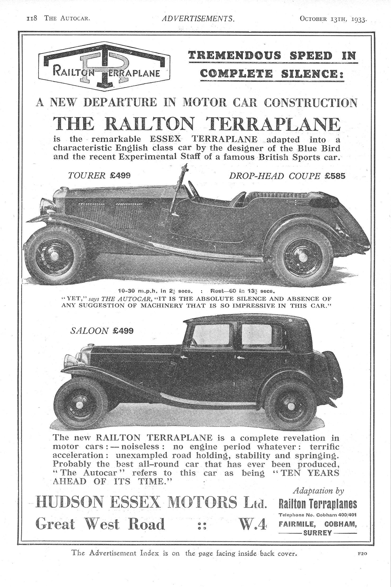 Railton Terraplane Motor Car Autocar Advert 1933 | Vintage and ...