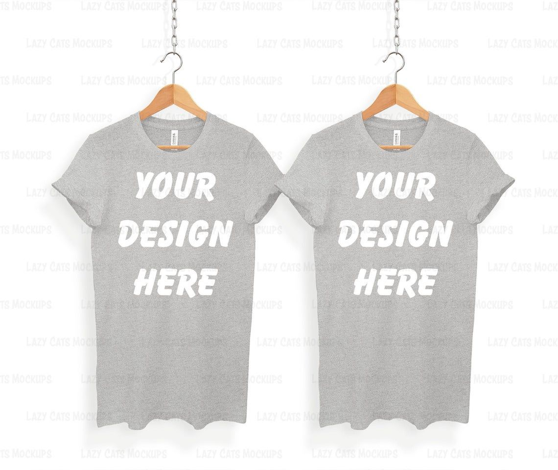 Download Athletic Grey Duo Bella Canvas 3001 Mock Up With Hanger Etsy Shirt Mockup Clothing Mockup Great T Shirts