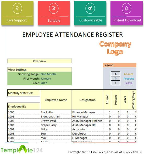 Pin by Techniology on Excel Project Management Templates For - attendance sheet for employees