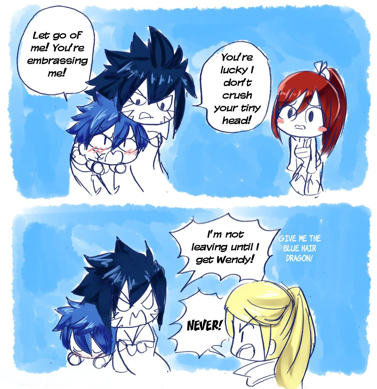 Featuring The Joke That All Blue Hair Characters Are Acnologia S