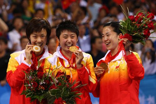 China - Table Tennis - Beijing Olympics 2008 - Womens Team Competition ~ Guo Yue,   Wang Nan,   Zhang Yining - www.london2012.com #table #tennis #london2012 #olympics