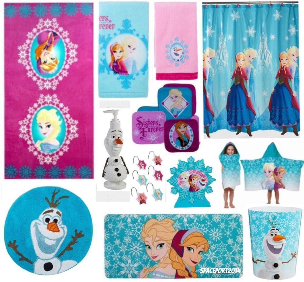 28pc Complete FROZEN Anna Elsa BATHROOM SET Shower Curtain Towels Rug Bath Mat Disney