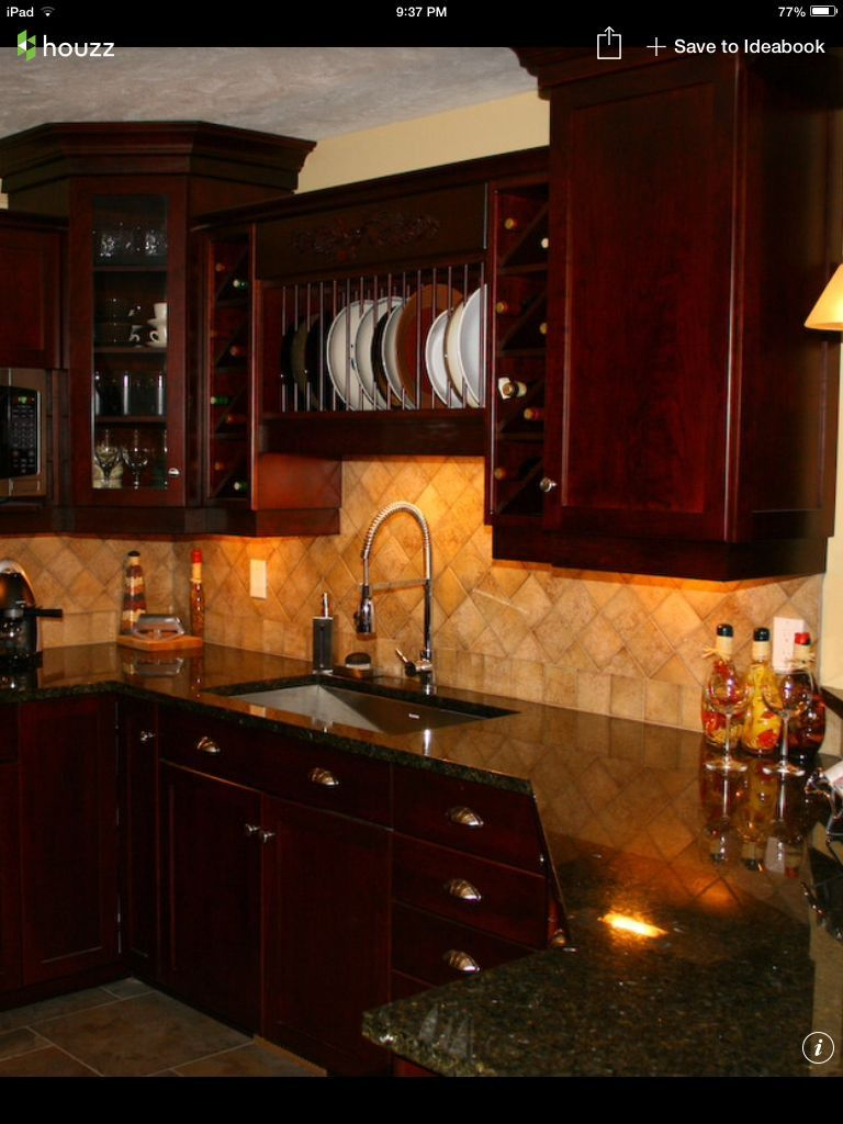 Elegant Dark Cherry Cabinets Kitchen Backsplash Ideas ... on Backsplash Ideas For Black Granite Countertops And Cherry Cabinets  id=15991