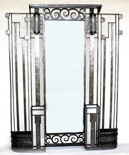 Art deco 1930 tr s grand vestiaire porte manteau fer forg for Porte salon fer forge