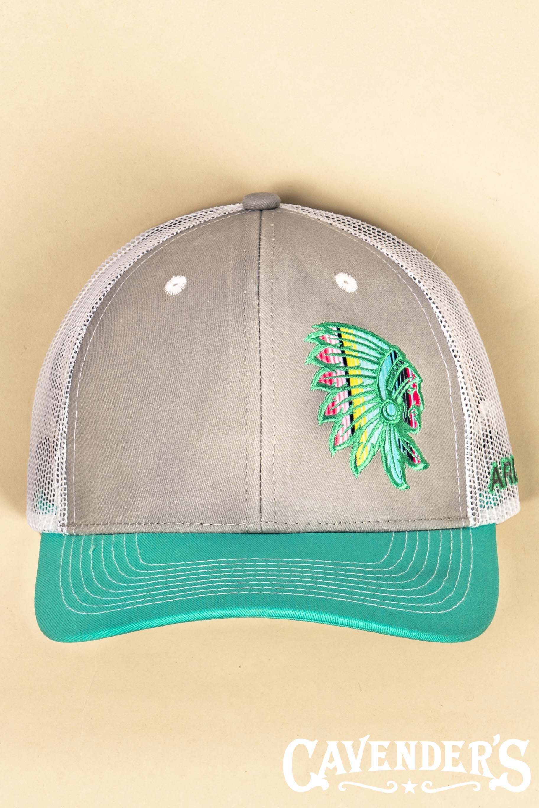 3af69b9bb Ariat Turquoise and Grey with Serape Indian Chief Patch and White ...