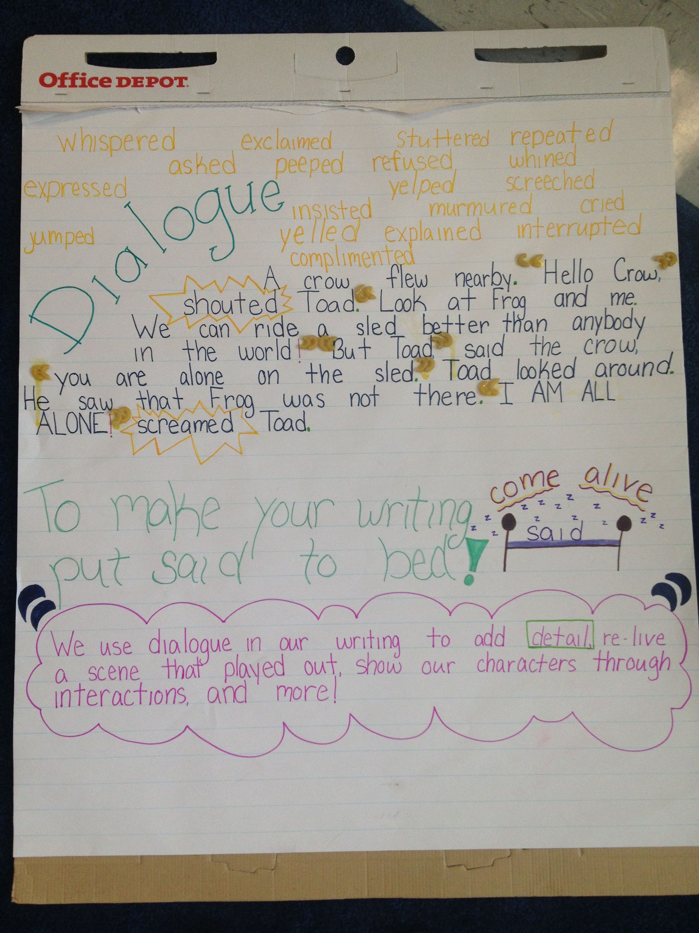 Dialogue Chart With Frog And Toad Excerpt First Grade