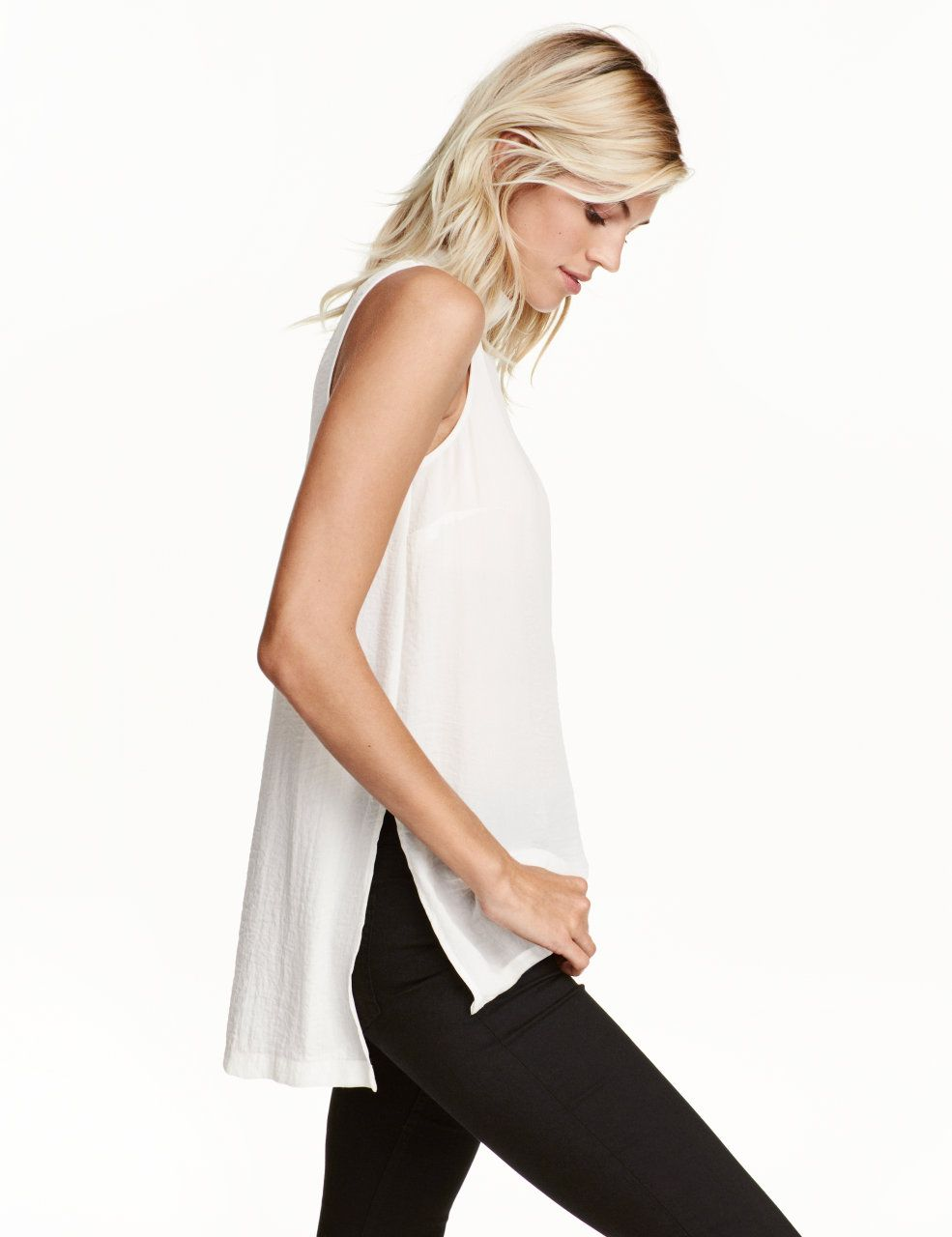 6a199c4068ec Ärmellose Bluse   Weiß   Damen   H M DE   Fashion   Pinterest   Fashion