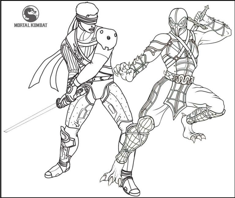 Best Mortal Kombat Battle Coloring Page | Mortal Kombat Coloring ...