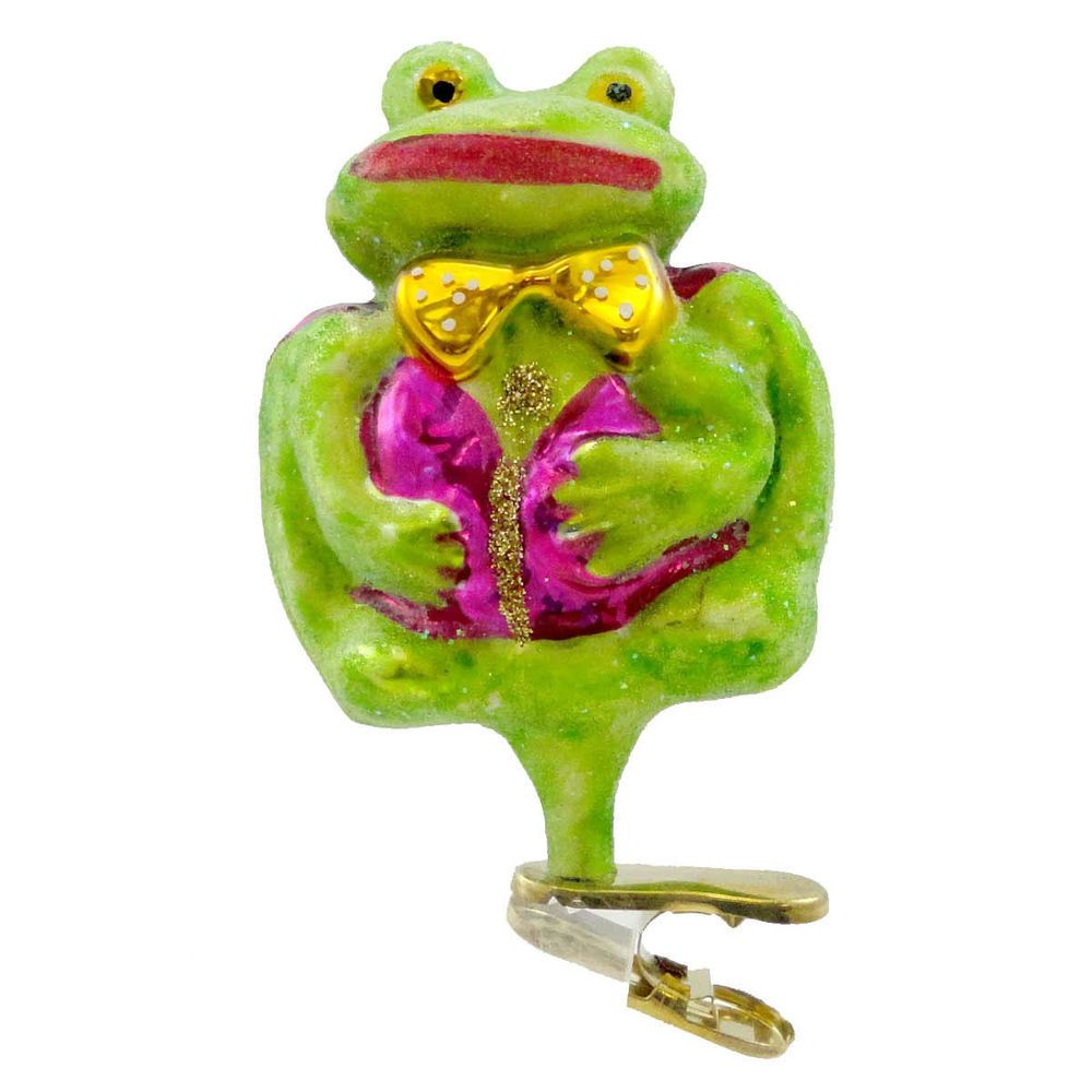 Radko A COURTIN FROG 970550 Ornament Clip-On Easter Spring New