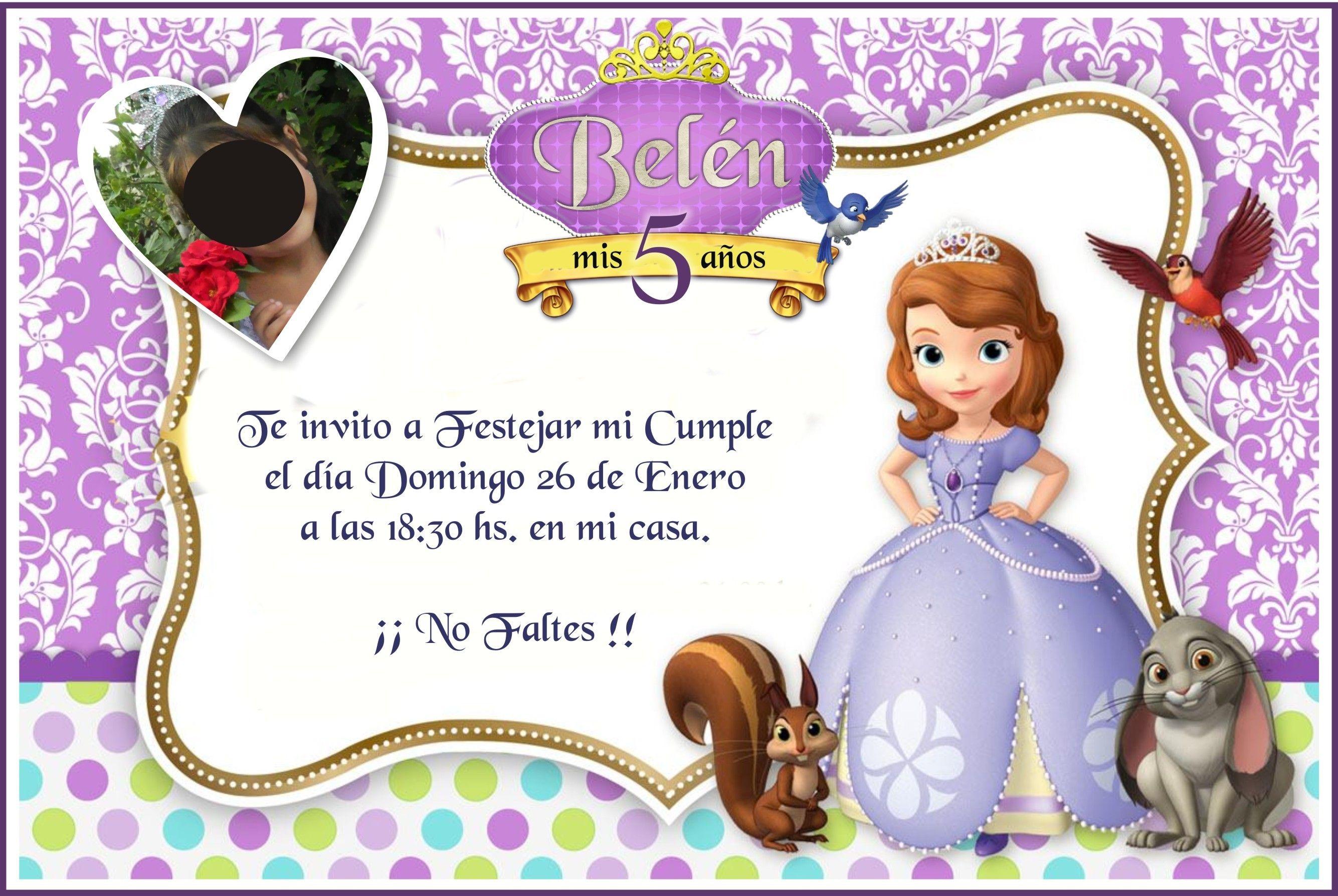 Tarjetas De Invitacion A Cumpleaños Princesa Sofia Para