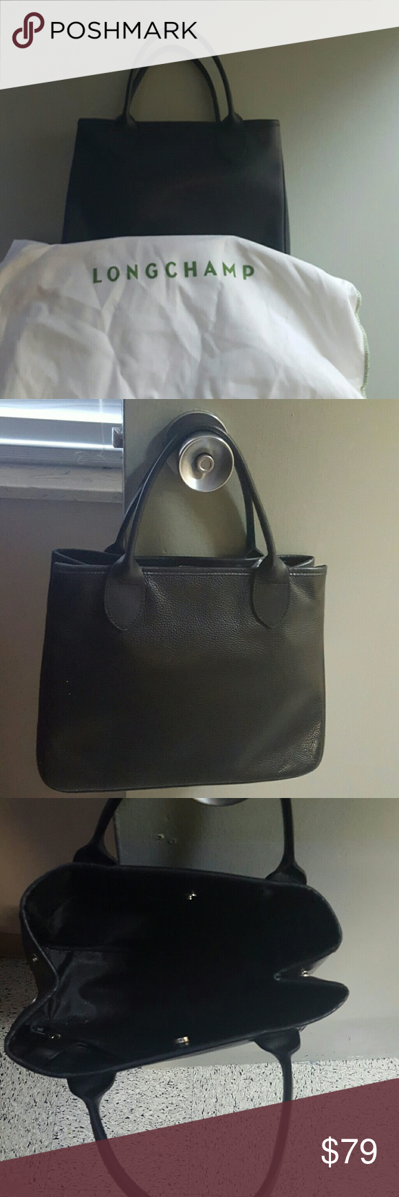 AUTHENTIC LONGCHAMP BLACK LEATHER SATCHEL Authentic Longchamp black leather satchel handbag with dustcover, beautiful, lightly used no marks no problems, 11w, 10h, 5d, Bags Satchels