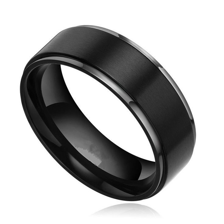 Solid Anium Black Ring Brushed Men S Wedding Band Comfort Fit 8mm